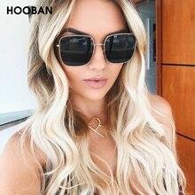 HOOBAN Classic Square Women Sunglasses Luxury Big Metal Sun