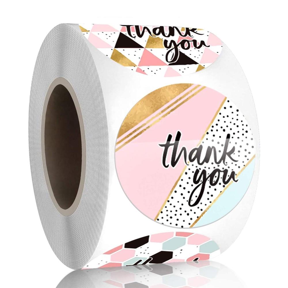 500 шт./рулон с закругленным носком; Цвета: розовый, геометрический узор Спасибо наклейки печать этикеток украшение праздничного подарка дет...