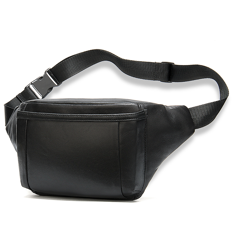 Luufan Male Fanny Pack Bag Belt Men Leather Belt Bag Sheep Skin Phone Hip Bag Men's Waist Bag For Men's Travel Banana Waist Pack