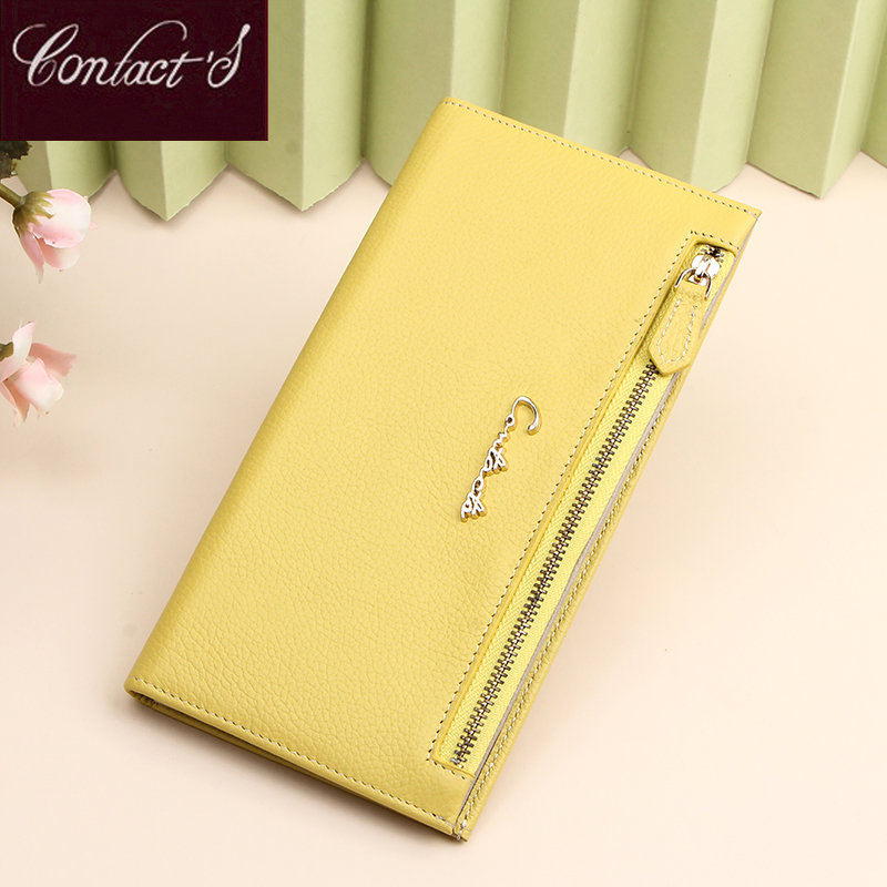 Long Genuine Leather Women Wallets Purses Yellow Wallet Leather Ladies Wallets Portefeuille Female Purse Clutch Cartera Mujer