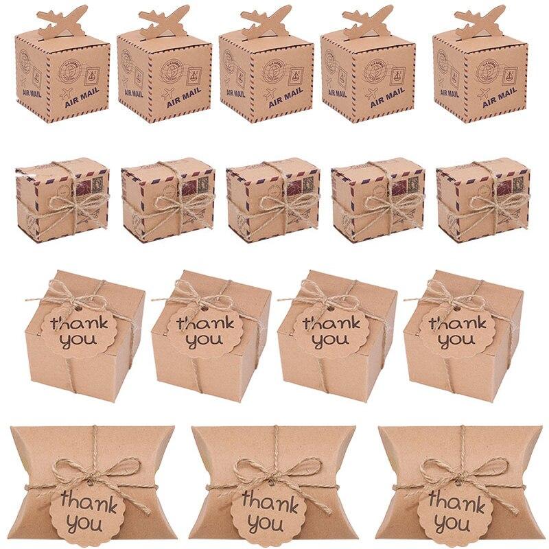 10/20/30 шт. креативная квадратная коробка для путешествий, коробки для конфет, подушка в крафт-бумажной коробке, Подарочный пакет ручной работ...