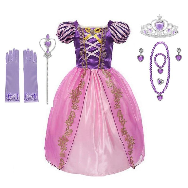 VOGUEON Princess Rapunzel Costume Girls Puff Sleeve Birthday Fancy Dress Up Clothes Children Halloween Party Supply Accessories