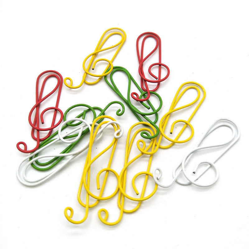 10pcs Cute Color Music Letter Paper Clip Office Bookmark Folder Stationery Metal Clip Binder Clips Metal Clips Clamp