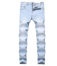 Vogue Nice New Denim Four Seasons Men Jeans Full Length Straight Soft Comfort Casual Style Zip Button Decoration цена 2017