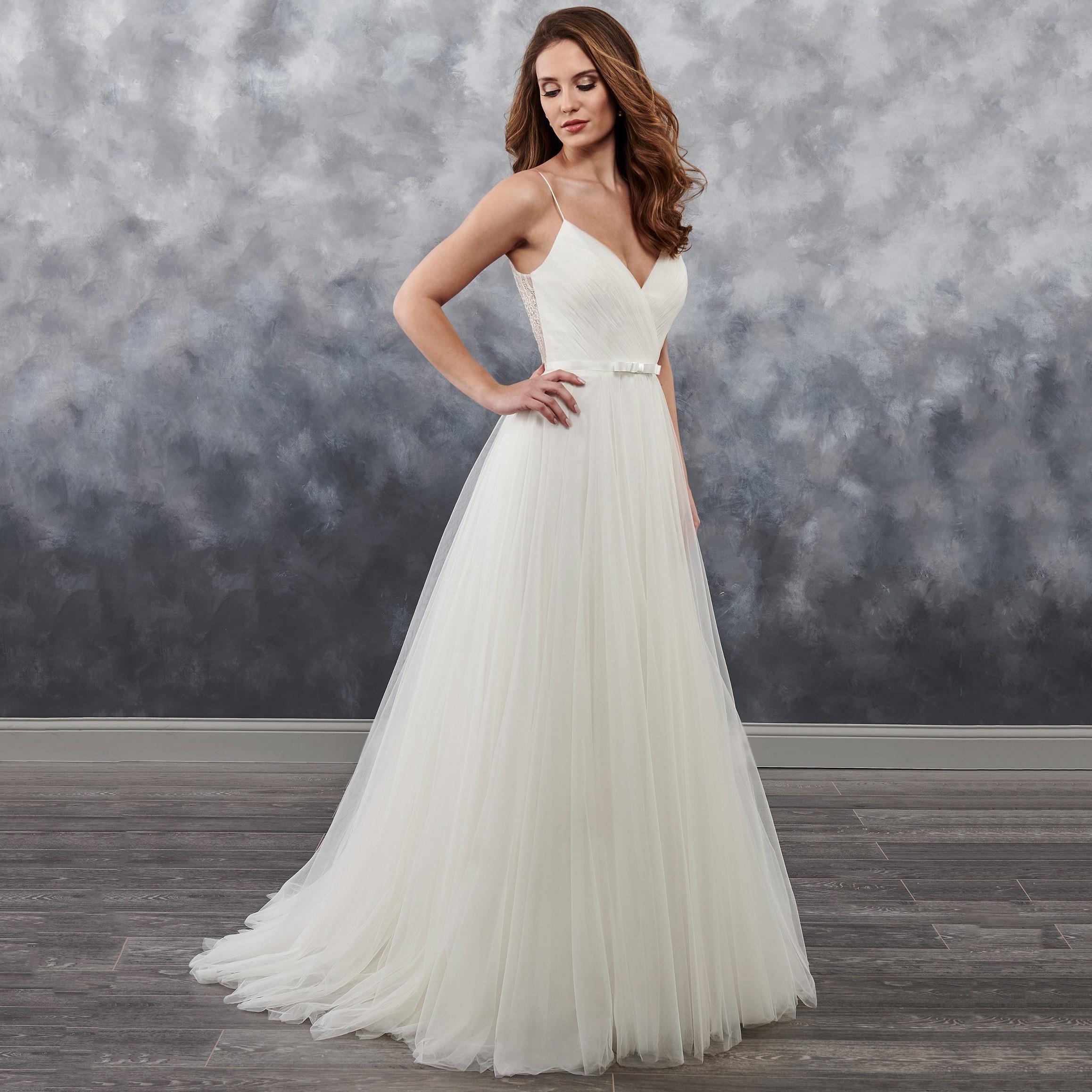 Simple pas cher plis Sexy dos nu chérie robe de mariée sur mesure blanc ivoire Tulle Spaghetti bretelles robe de mariée