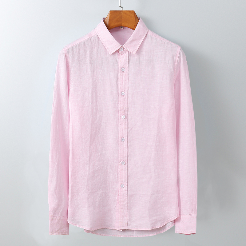 100%Linen Long Sleeve Shirts Men Solid White Color Turn-down Collar Single Breasted Casual Shirts 2020 Man Summer Brand Clothing