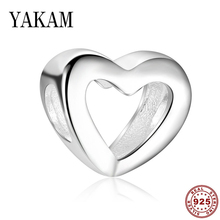 Heart 925 sterling silver bead for women fit original pandora bracelet charms hollow beads love bangles jewelry making girl gift