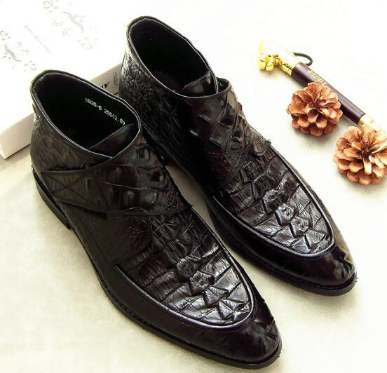 Fashion Men Ankle Boots Genuine Leather Crocodile Pattern High-top Dress Boots Party Wedding Shoes