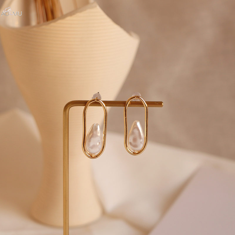 AOMU Fashion <font><b>2019</b></font> Design Drop Earring Irregular Natural Pearl Pendant Dangle Earring <font><b>For</b></font> Women Simple Earring <font><b>Jewelry</b></font> <font><b>Set</b></font> image