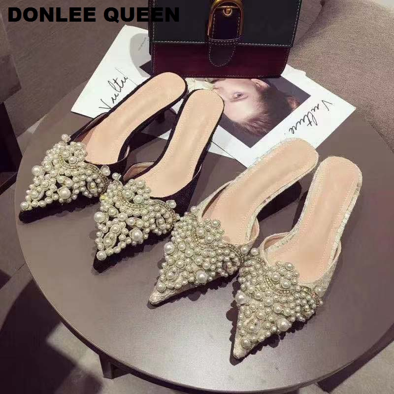 Luxury Slippers Women Slip On Slides Ladies Brand Mules Shoes Women Dress Shoes Pointed Toe Heels Pearl Slippers For Party Shoes
