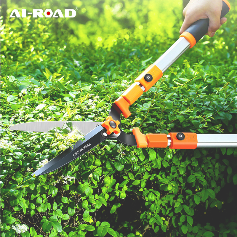 AI-ROAD New Professional Long Handle Plant Hedge Scissors Household Garden Lawn Pruning Shear Tree Branch Fast Trimmer Fence Cut