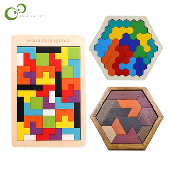 New High Quality Wooden Tangram Jigsaw Brain Tetris Game Puzzle Bloacks Preschool Children Play Training Educational Toys ZXH