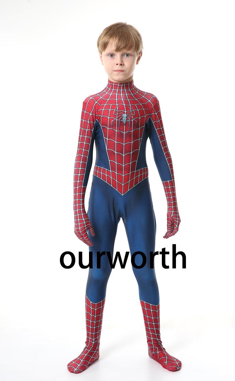 Classic Raimi Spiderman Costume Spandex Halloween Spider-man Superhero Cosplay Costume For Kids/children In Stock