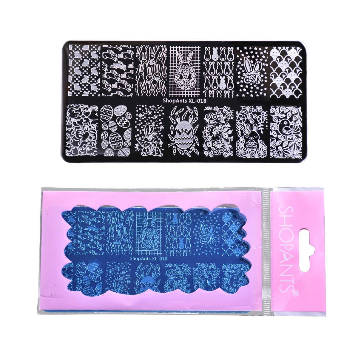 SHOPANTS 6*12cm tırnak yapıştırması dikdörtgen paslanmaz çelik şablonlar paskalya tasarımlar profesyonel manikür Stamper damgalama tırnak sanat