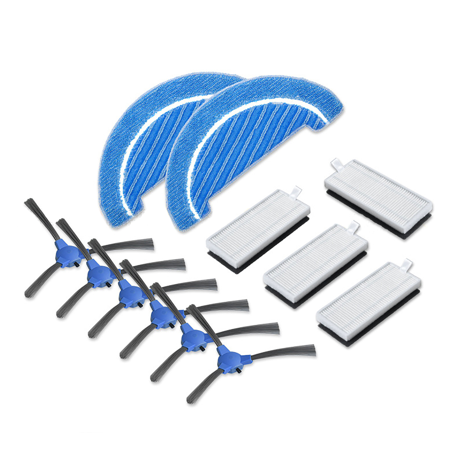 6pcs Side Brushes + 4pcs Filters + 2pcs Cloth For Conga 1090 Robot Vacuum Cleaner Accessories