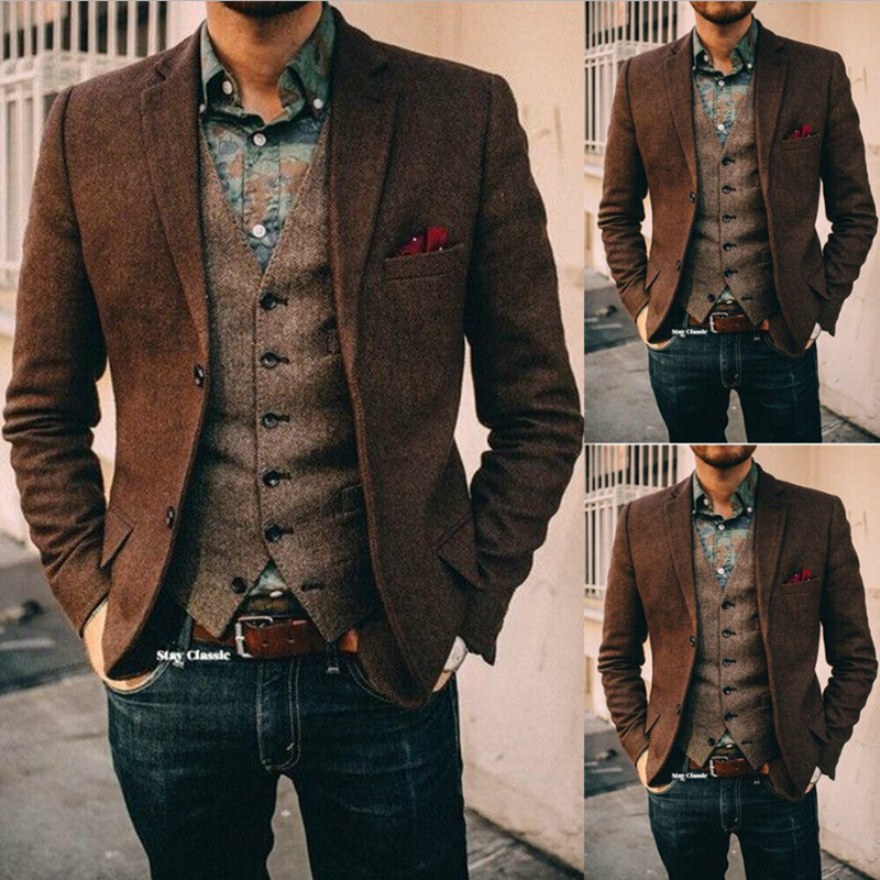 Brown Mens Suits Wool Blend 2 Piece( Coat+Vest) Notched Lapel Costume Homme Herringbone Formal Suit Custom Made