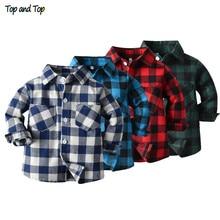 Топ и топ, весна-осень, Модная хлопковая клетчатая рубашка с длинными рукавами для маленьких мальчиков Повседневные Классические детские Мужские сорочки с отложным воротником, топы