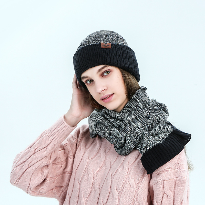 Kitted Wool Winter Hat And Scarf Set For Women Men Classic Thicken Wool Kitted Hats And Scarves Winter Warm Bonnet Beanie Caps