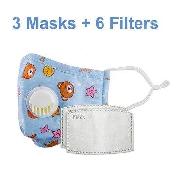 3 PCS Del Fumetto PM2.5 Bambini Maschera Maschera Con 6 Filtri Respiro Bocca Valvola Viso Maschera Per Bambini Lavabile Maschera Maschera di Polvere a prova di sterile In Magazzino 24