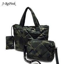 Women Bag Bucket Shoulder-Bag Cotton Handbag Waterproof Winter High-Quality 3set Soft