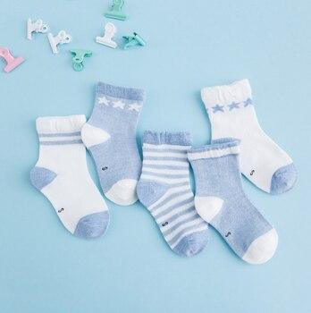 0-3Y 5 Pairs/lot Infant Baby Socks Cute Summer Breathable Mesh Sock Cotton Newborn Boys Girls Short Socks - P, 6M