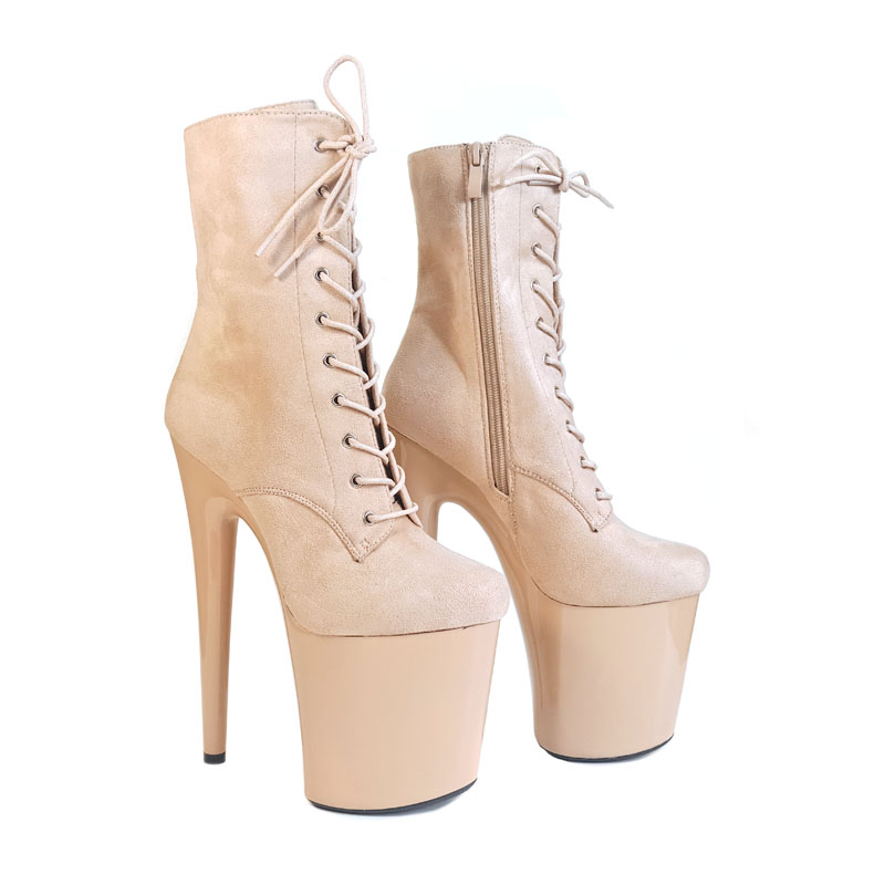 Leecabe Beautiful Camel Color Pole Ankle High Heel Platform Boots Vegan Boots  Costume  Boots Pole Dancing Boot