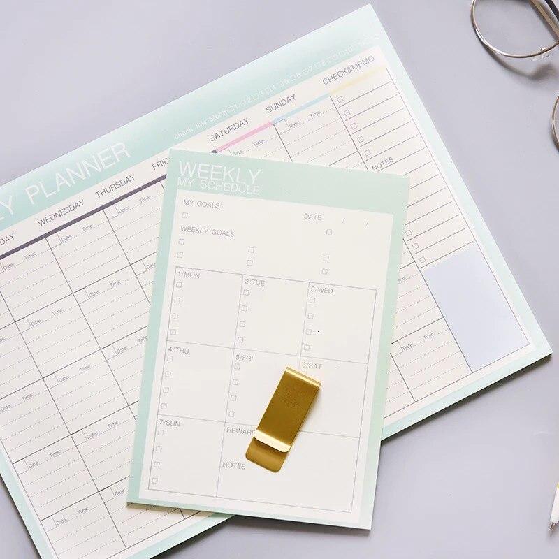 2020 najnowszy śliczne 54 arkusze A4 B6 tygodniowy miesięczny organizator Pad notatniki uwaga codziennie To zrobić notatnik Notebook szkoła papiernicze