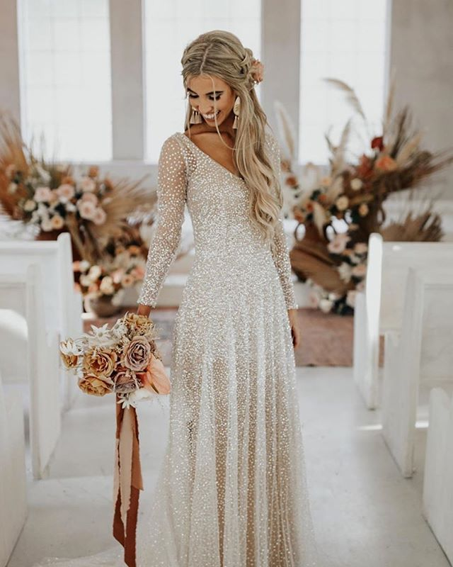 Linglewei New Spring and Summer Women's Dress V-Neck long sleeve Sequin dress sexy long dress
