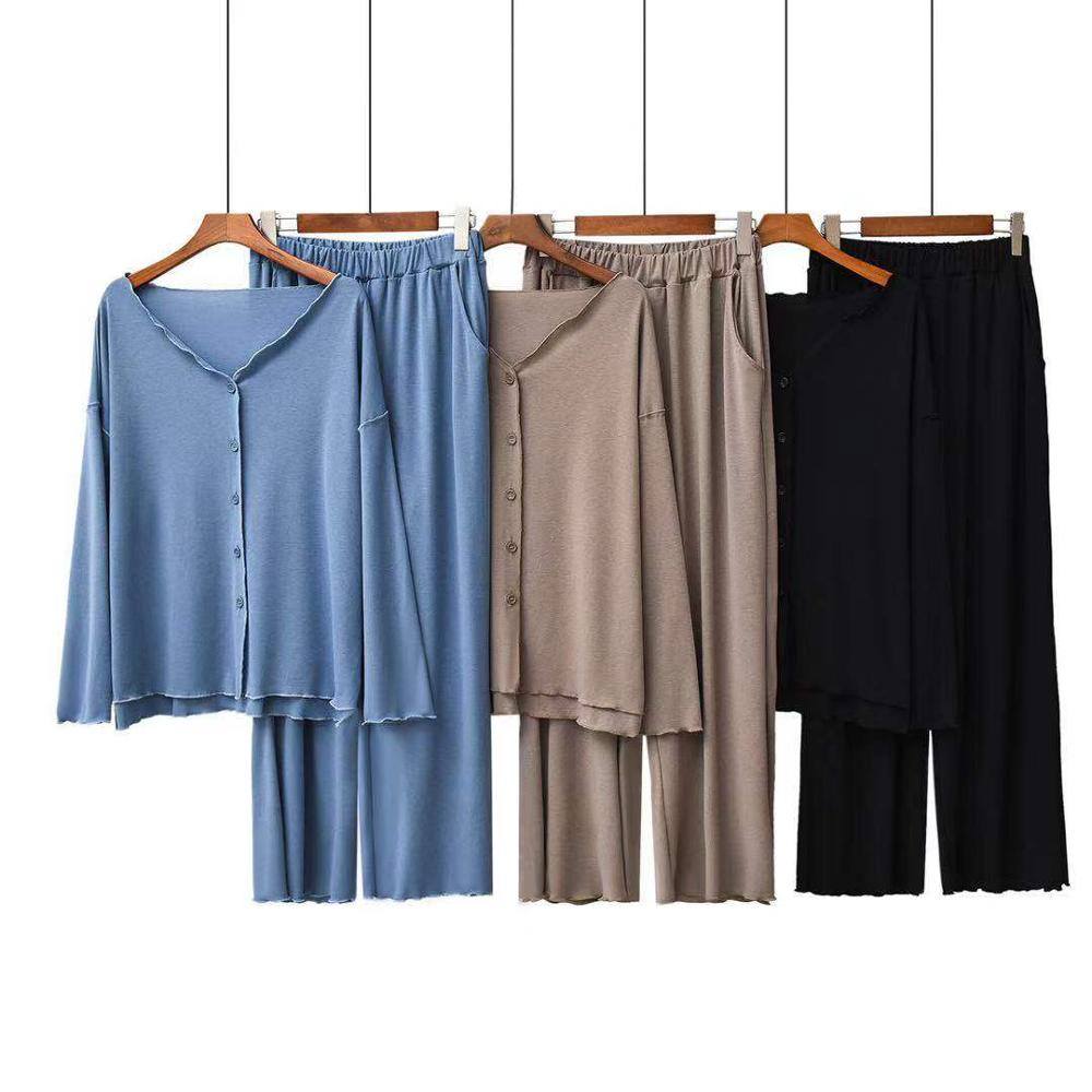 New Autumn Pajamas Female Pure Cotton Long Sleeve Large Size Mushroom Side Spliced Card Can Wear Long Sleeve Home Suit Outside