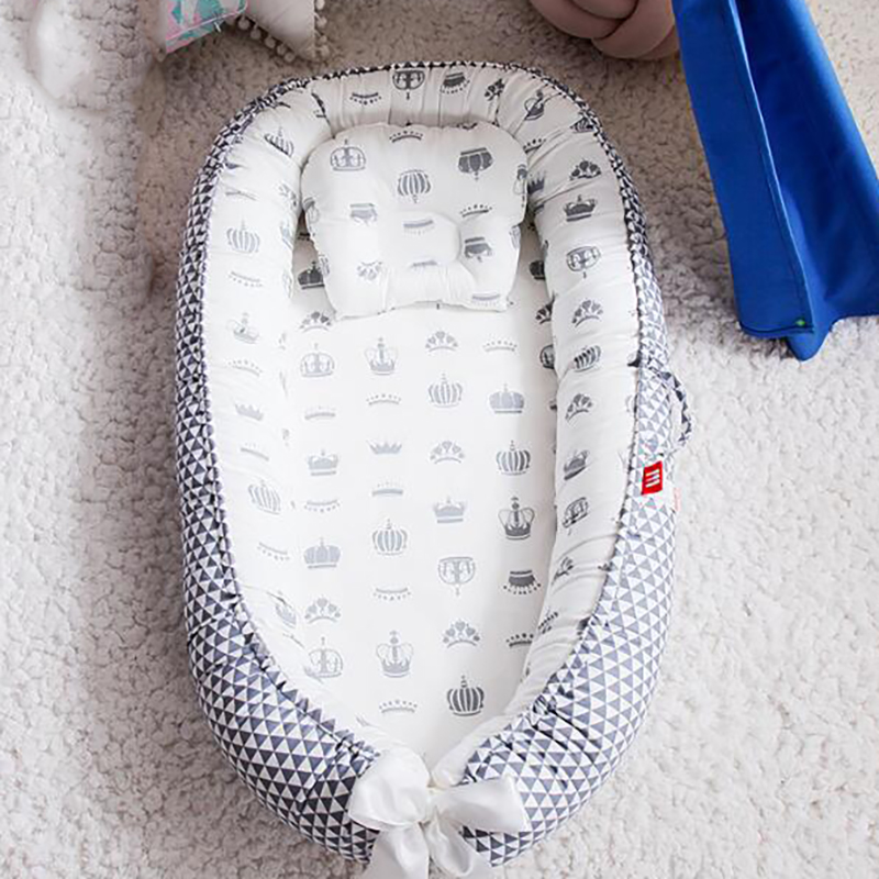 Infant Cot Crib Baby Basket Travel Portable Crib Baby Bed Newborn Cotton Cradle Bumpers  Pillow  Safety Protection