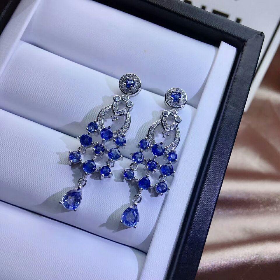 Image 5 - MeiBaPJ Luxury Sri Lanka Sapphire Gemstone Drop Earrings Real 925 Silver Fashion Earrings Fine Charm Wedding Jewelry for WomenEarrings   -