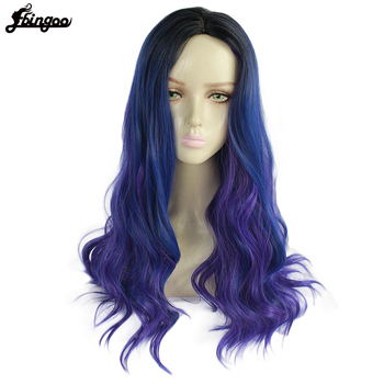 Ebingoo High Temperature Fiber Long Body Wave Blue Ombre Purple Synthetic Cosplay Wig Middle Part for Women Costume Party ebingoo rabbit ears silver grey long double braid judy bunny synthetic cosplay wig for party rabbit ear props