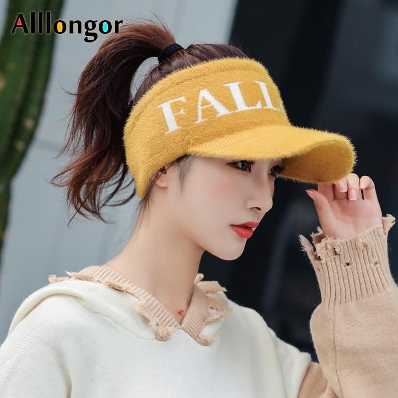 New Fashion 2021 Autumn Winter Sun Visor Hat Women Faux Fur Wool letter knitted Sport baseball Cap Visors For Running
