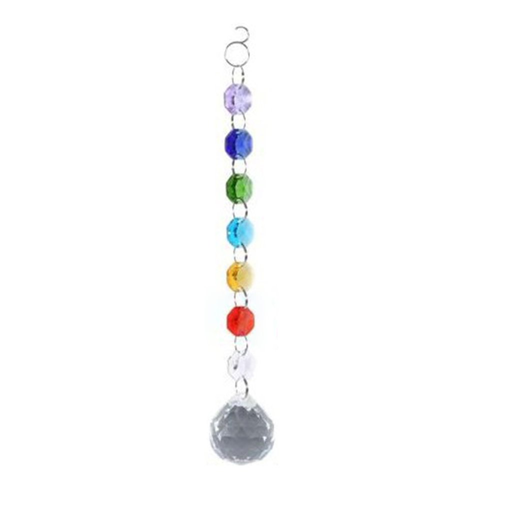 DIY Hanging Colorful Octagonal Beads Crystal Suncatcher Light String Pendant Drop Home Garden Decorative Ornament Jewelry