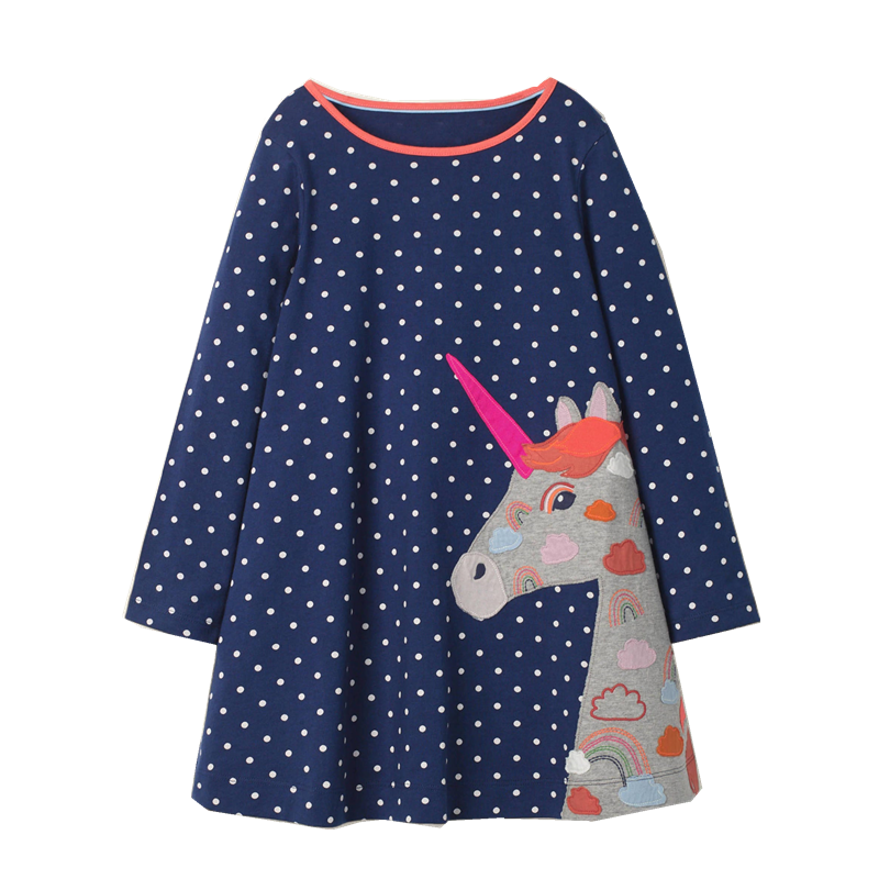 Girls Dress Kids Clothes Sweater Hooded Dresses Autumn Winter Cute Girls Cotton Unicorn Baby Clothing Princess Dress for Girl
