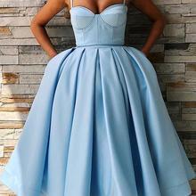 Graduations Dresses Satin Light-Blue Knee-Length A-Line Cloverbridal with Pockets WE9575
