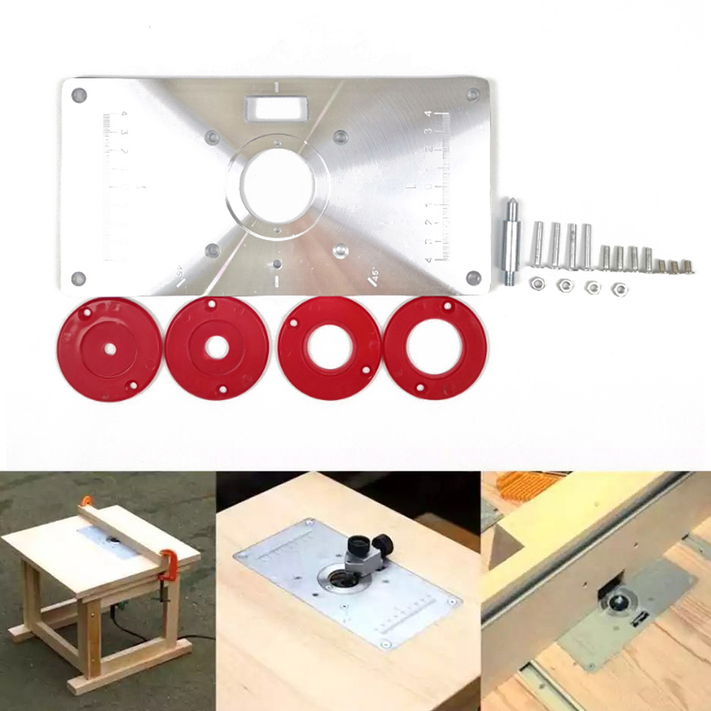 Aluminum Router Table Insert Plate Trimmer Engraving Machine Woodworking Bench With 4 Rings Tools