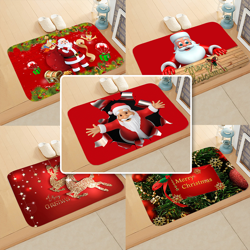 Sisher Christmas Doormat Carpet Santa Claus Outdoor Rugs Room Anti-slip Christmas Decoration For Living Room 2020 New Year Gift