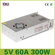 จัดส่งฟรี 5V 60Aเอาต์พุต 300 วัตต์ไดร์เวอร์LEDกล้องวงจรปิดUS4,DC5V 2812B 2801 8806 แสงTransformers