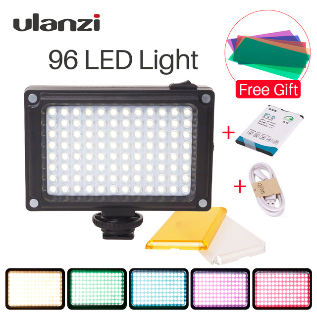 Ulanzi 96 LED Video Light แสงกล้องชาร์จไฟแฟลชสำหรับกล้อง DSLR Vlog การถ่ายภาพแต่งงาน Accessorie
