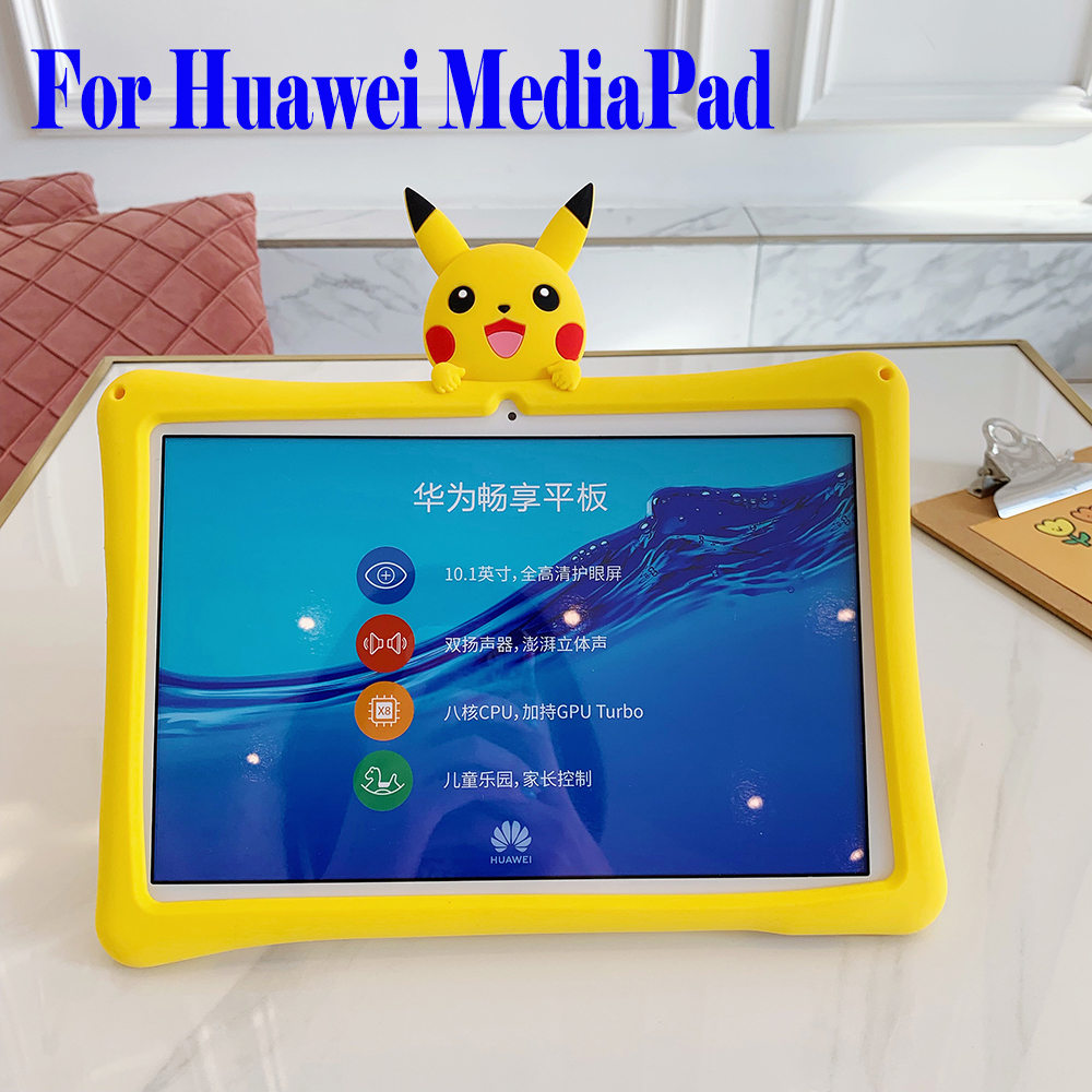 Pikachu Kids Shockproof Safe Case for For Huawei MediaPad T5 10 10.1 inch M3 10.1 M6 8.4 M5 Lite 10 M6 10.8 Cover Shell Funda image