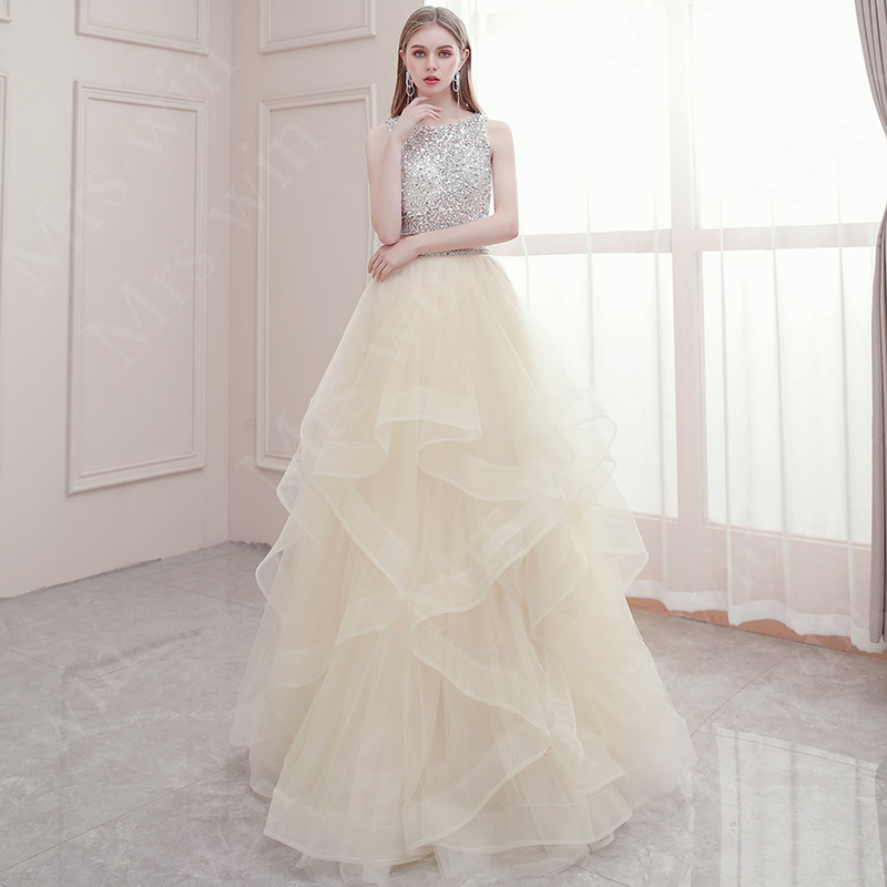 Mrs Win Quinceanera Dresses 2020 Luxury Crystal Crop Top Ball Gown Sexy Backless Quinceanera Dresses Two Pieces Robe De Soiree