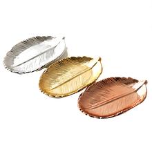 цена на Gold Leaf Ceramic Plate Storage Organizer Tray Box Valet Key Phone Coin Box