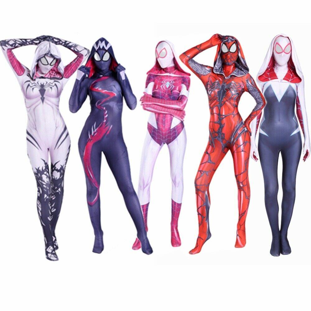 Spider Gwen Stacy Costume Symbiote Venom Carnage Gwen Cosplay Mask Hoodie Female Spider Zentai Suit Anti-Gwenom For Women Girl
