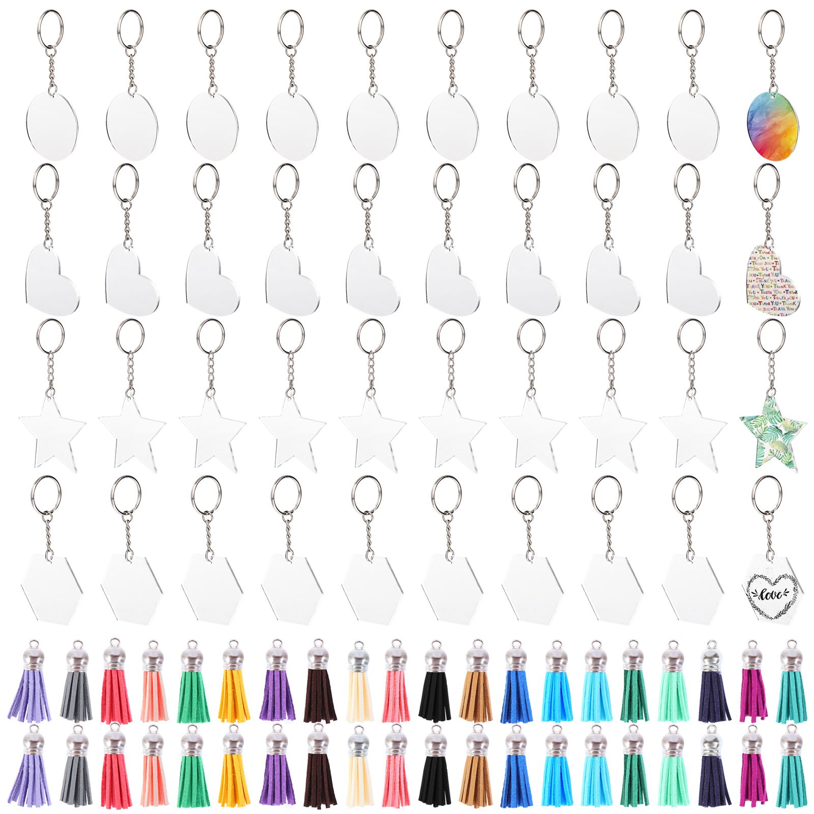 Set Of 40 Acrylic Keychains With Tassels