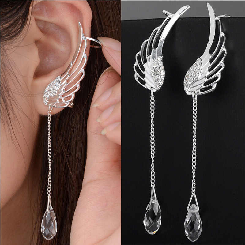 Cuff Wing Gift white Rhinestone Plated Hot Ear Earrings 1 pair Women Punk