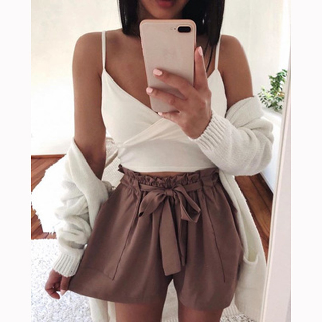 Summer Hot Ruffle Lacing High Waist Shorts Women Beach Loose Elegant Casual Fashion Short Ladies Shorts Solid Sexy Short Women