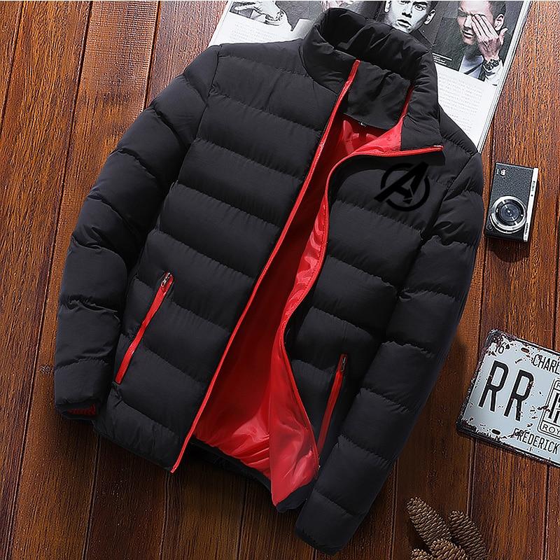 Justice League Men Parka Cotton Padded Winter Jacket Coat Mens Warm Jackets Male Solid  Collar Zipper Thick Coats Down Parkas