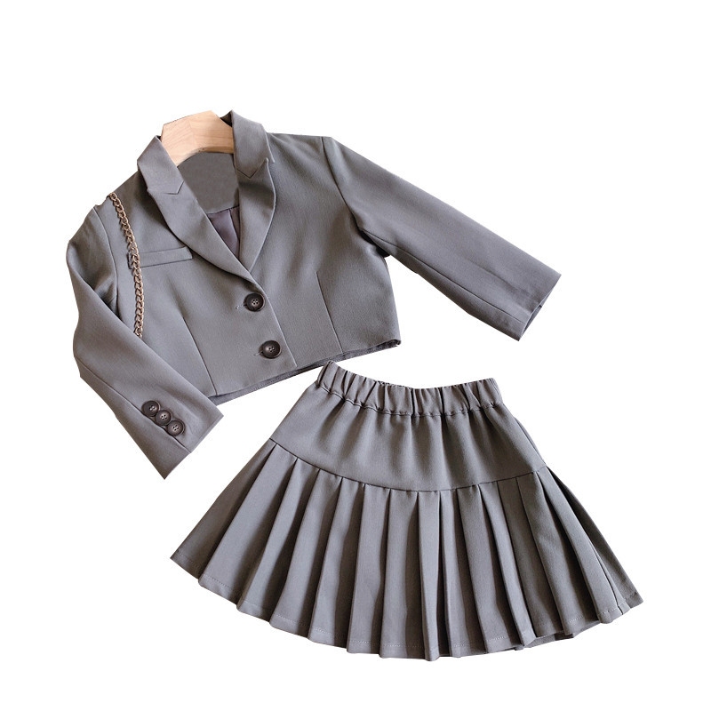 2021 Autumn New Arrival Girls Fashion 2 Pieces Suit Long Sleeve Coat+skirt  Girls Fall Outfits 5