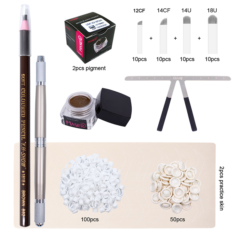 Microblading Kit 3D Eyebrow Tattoo Pen Microblading Needle Blade With Tattoo Pigment Rings Permanent Body Makeup Tool